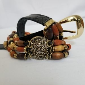 Beaded Boho Belt Leather Gypsy Black Tan Gold